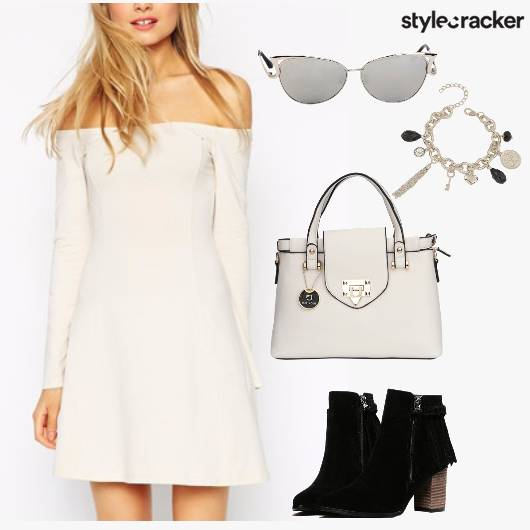 Off Shoulder Shoes Day Outgoing  - StyleCracker