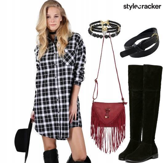 Casual Checks Shirt Dress - StyleCracker