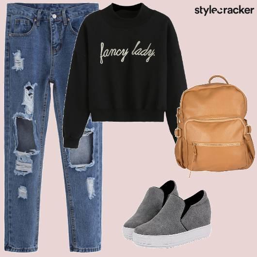 Ripped Denim Sweatshirt College  - StyleCracker