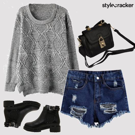 Sweater Ripped Denim Shorts Casual  - StyleCracker