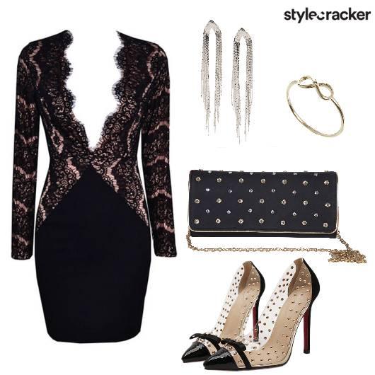 Lace Dress Heels Party Night  - StyleCracker