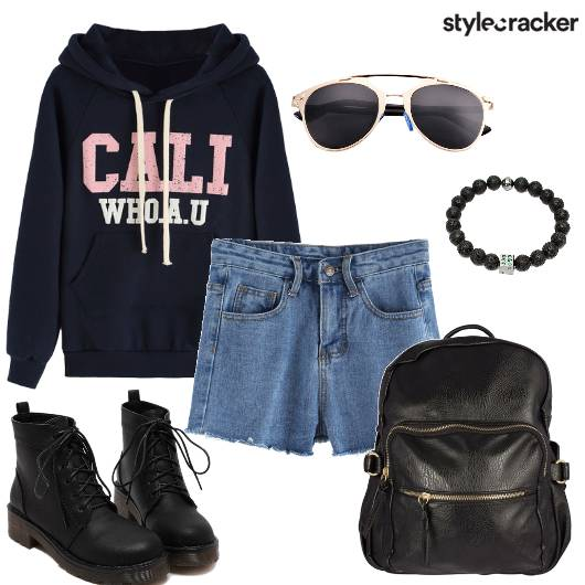 SweatShirt Shorts Shoes Backpack Casual DayOut - StyleCracker