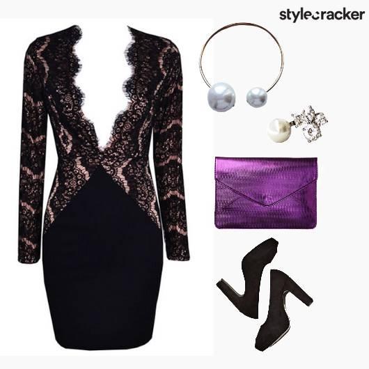 Evening Wear Black Lace Dress - StyleCracker