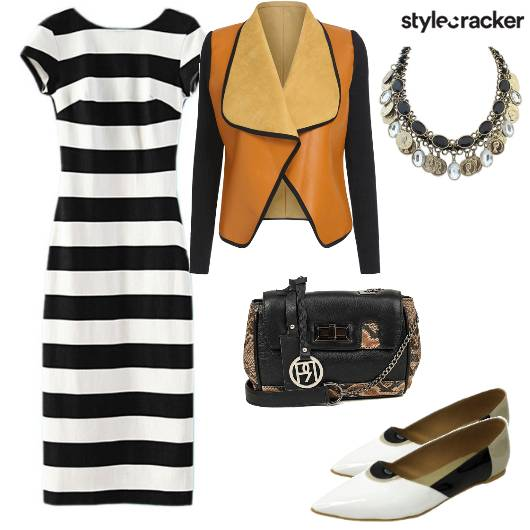 Stripes Color Blocking Midi Jacket - StyleCracker