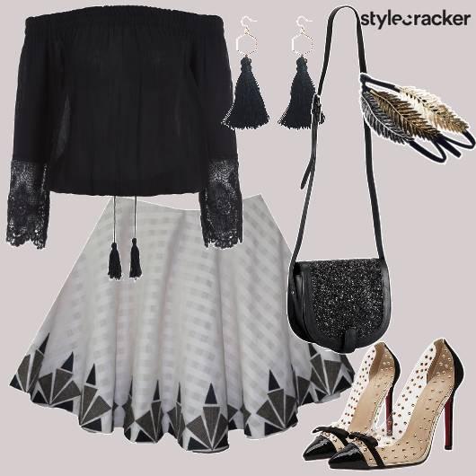 Off Shoulder Top Lace Details Circular Skirt - StyleCracker