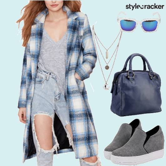 Plaids Overcoat Casual College  - StyleCracker