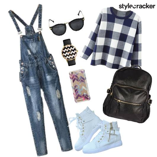 Casual Denim Overalls Bag Shoes - StyleCracker