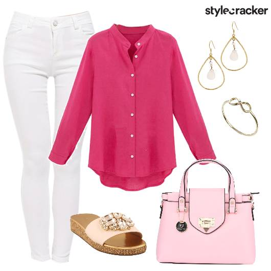 WhiteJeans Shirt Casual Shopping Winter - StyleCracker