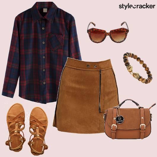 Shirt Plaid Suede Tan DressedUp - StyleCracker