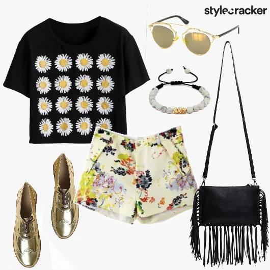 Floral Shorts CropTop Fringe Day - StyleCracker