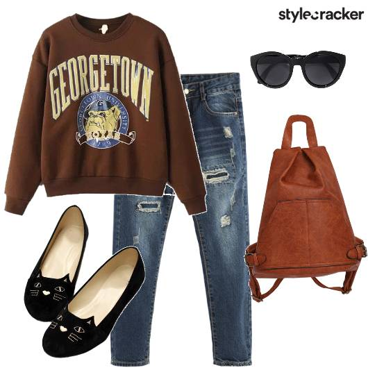 SweatShirt RippedJeans College - StyleCracker
