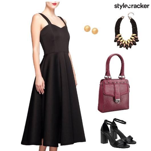 Dinner BlackMidiDress StatementNeckpiece - StyleCracker
