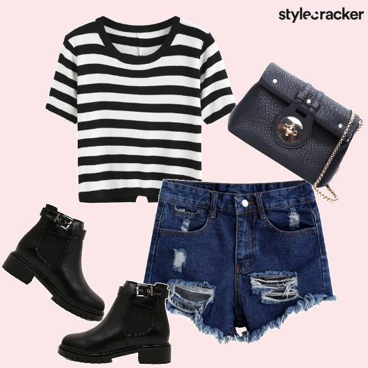 Stripes Casual Boots Shorts  - StyleCracker