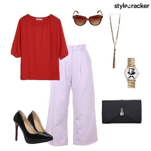 Workwear semiformal Top Flaredpants Pumps - StyleCracker
