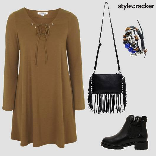 Military Fringe Boots Dress  - StyleCracker