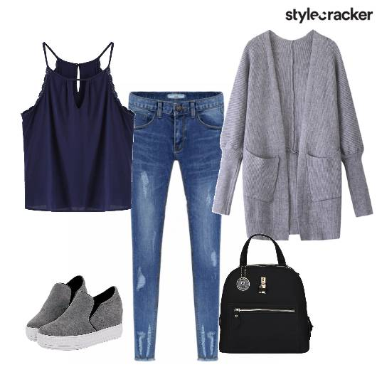 Cardigan Layers Rippedjeans Backpack Casual - StyleCracker