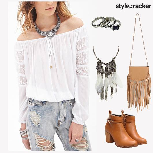 HippieMode RippedJeans OffShoulderTop - StyleCracker