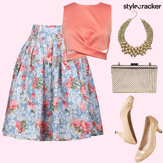 FloralPrint Skirt Croptop Statement Neckpiece  - StyleCracker