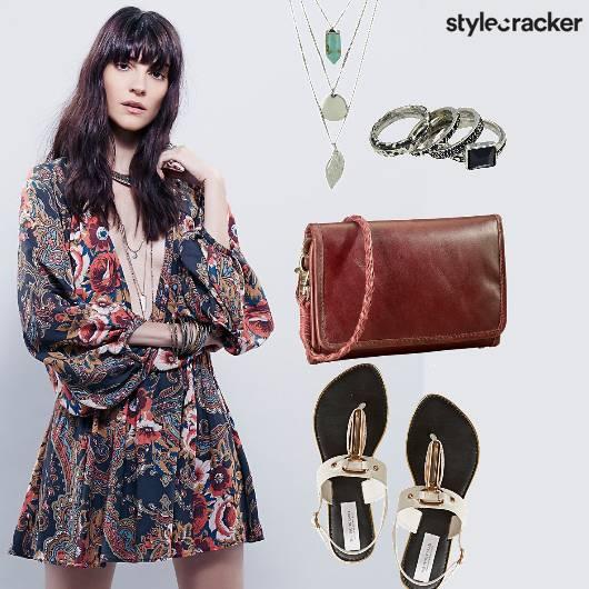 Printed Dress PeasantSleeves - StyleCracker