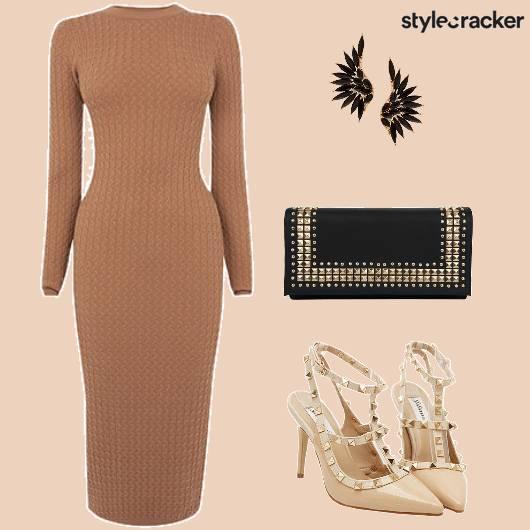 Formal Camel BodyconDress - StyleCracker