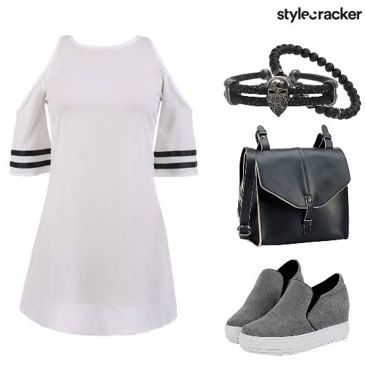 Sporty Casual ColdShoulder TennisDress - StyleCracker