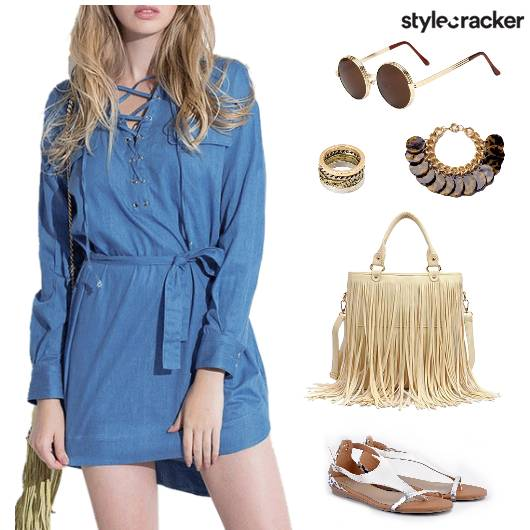 ChillingwithFriends BlueShirtDress FringeBag - StyleCracker