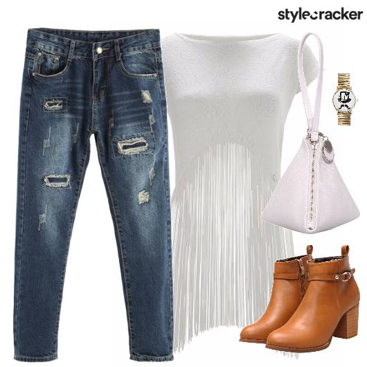 Denims Fringe Casual Boots Bag - StyleCracker
