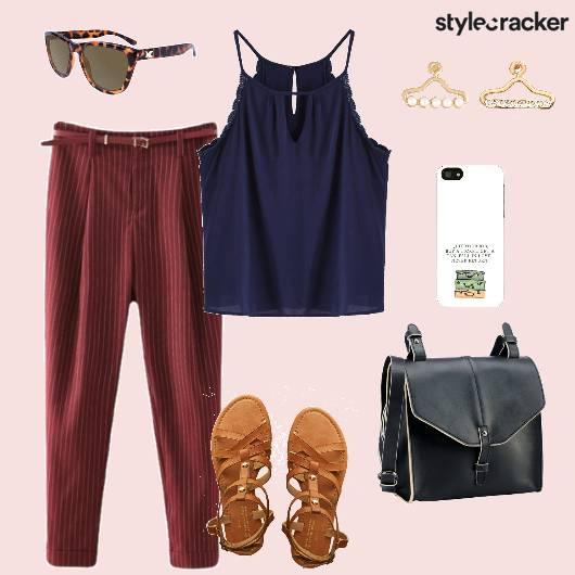 Casual SpagettiTop Trousers Strappyflats Crossbodybag Casual - StyleCracker