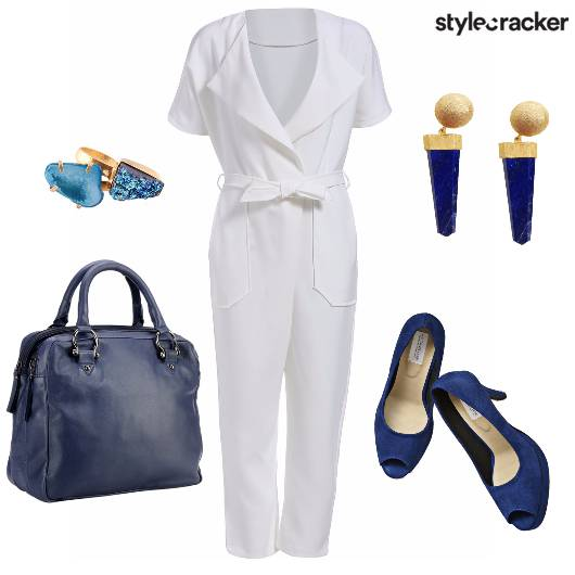 WorkWear WhiteAndBlue AquaFeels Jumpsuit - StyleCracker