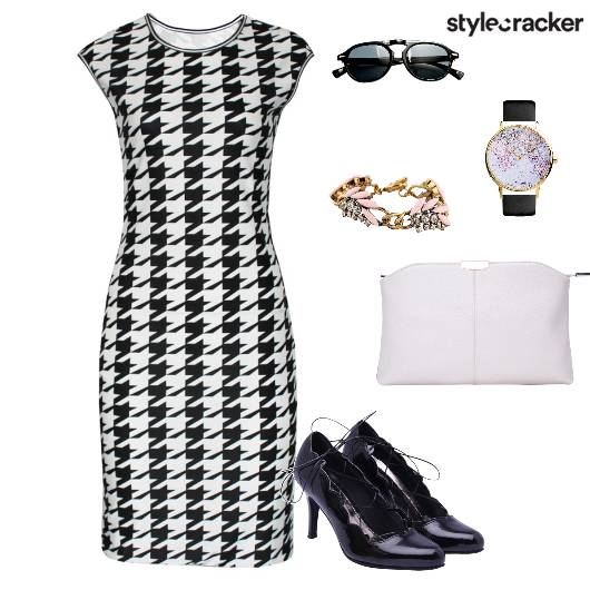 Houndstooth Bodycondress Pumps Clutch Workwear - StyleCracker