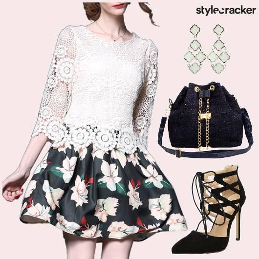 Dress Floral Lace Shoes Bag - StyleCracker