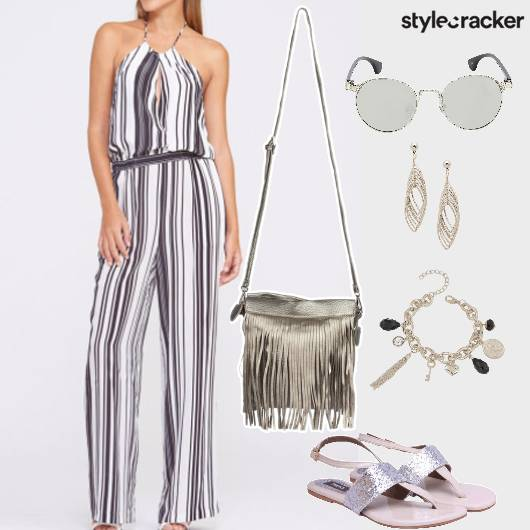 JumpSuit Stripes CoffeDate Evening Fringe DressedUp - StyleCracker
