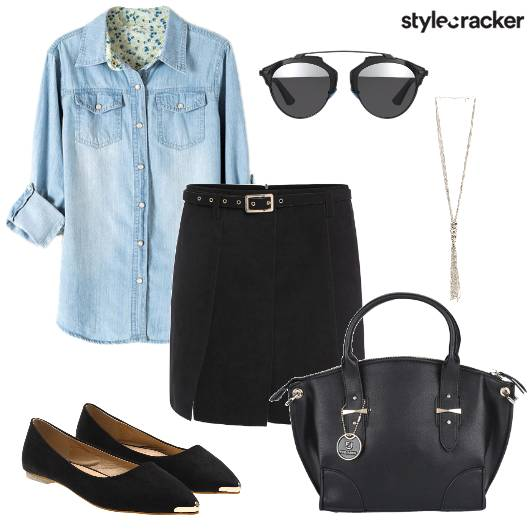 Denim Skirt Meeting Work - StyleCracker