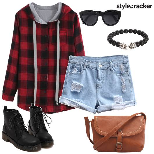 Plaid Hoodie Shorts Casual  - StyleCracker