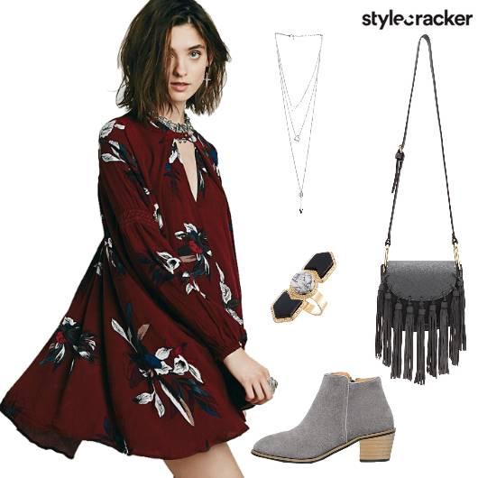 DarkFloral Fringe Boots Dress - StyleCracker
