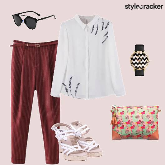 Buttondownshirt Trousers Strappyheels Workwear - StyleCracker