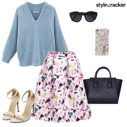 Loosesweater Midiskirt Handbag Stilletos Brunch - StyleCracker
