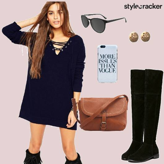 Laceupdress Kneehighboots Suede Navy Crossbodybag Casual - StyleCracker