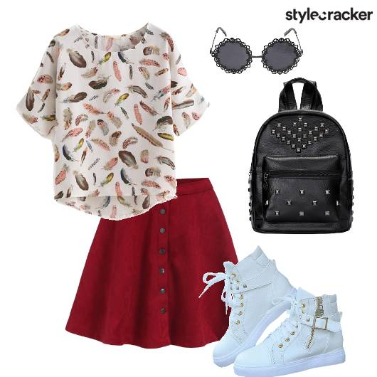 Skaterskirt Hightop Sneakers Studdedbackpack  Backtoschool - StyleCracker