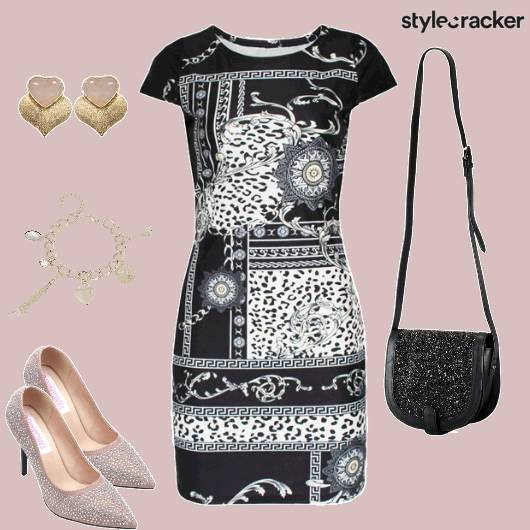 LeopardPrint Dress BlackGlitter SlingBag - StyleCracker