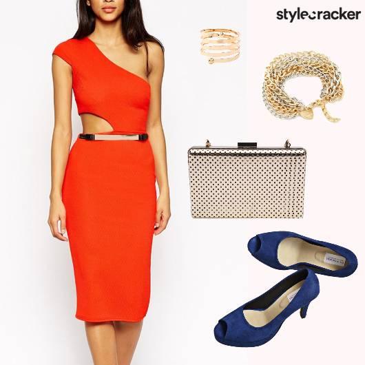 BrightOrange Cutout OneShoulder Dress - StyleCracker