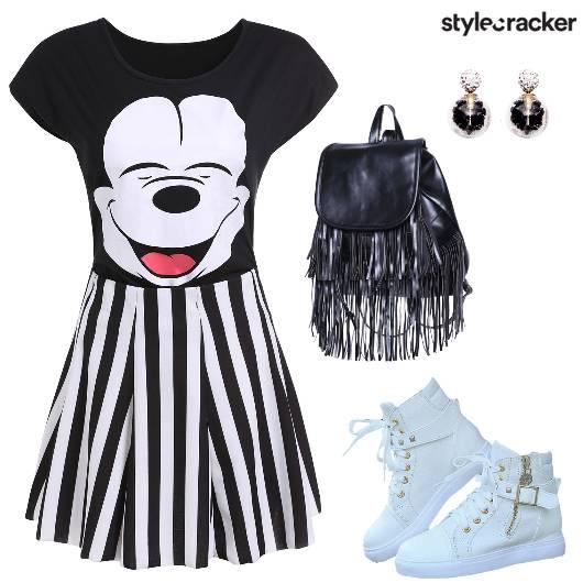 Mickey StripedDress FringedBackpack - StyleCracker