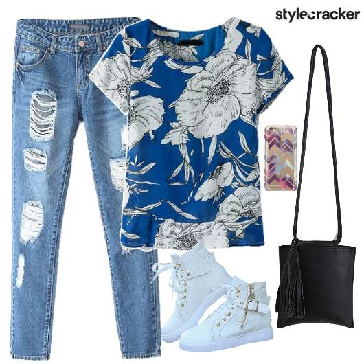 Top Denims Floral Shoes Bag - StyleCracker