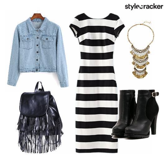 Denim StripedDress FringeBackpack StreetStyle - StyleCracker