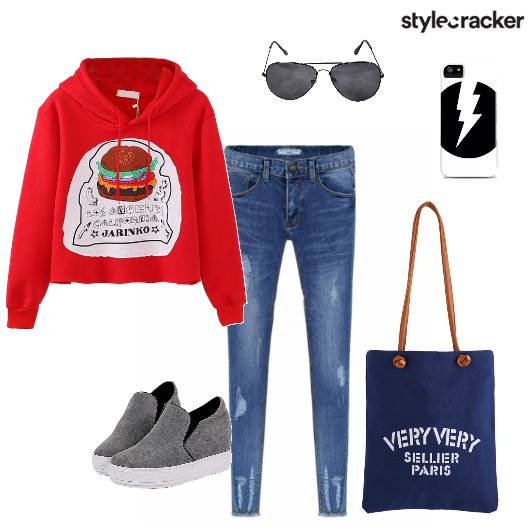 Graphicsweatshirt Distressedjeans Casual  - StyleCracker