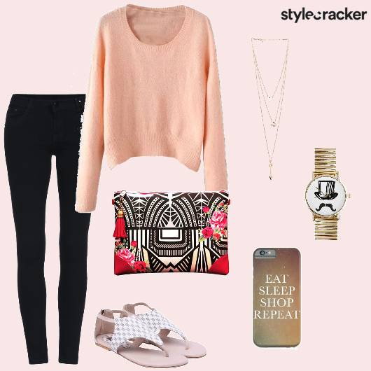 Pastel Sweater Denims Casual PrintedClutch - StyleCracker