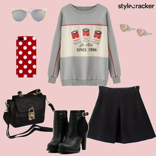 Sweatshirt Skirt Boots Casual - StyleCracker