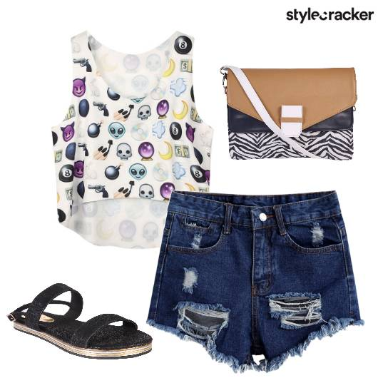 Shorts CropTop SlingBag Casual  - StyleCracker