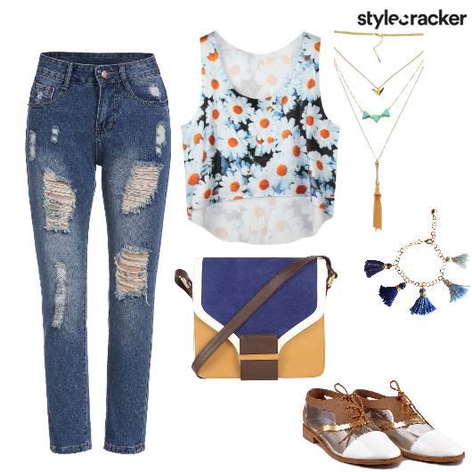 RippedJeans FloralPrint AsymmetricCroptop  - StyleCracker