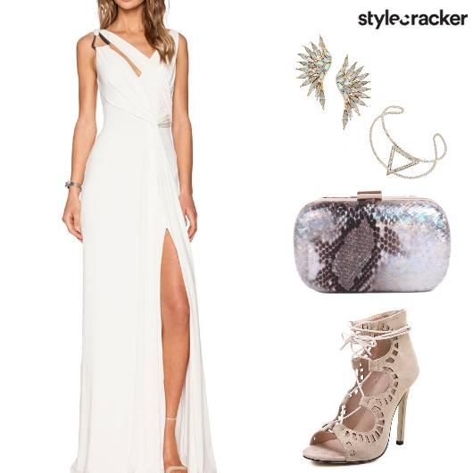 Cocktail HighSlit WhiteGown - StyleCracker